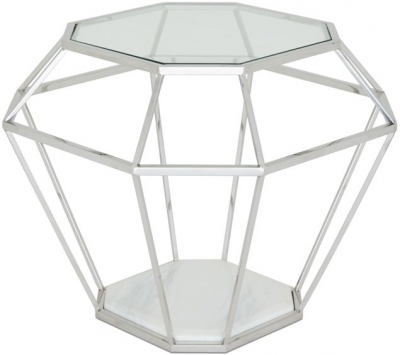 Serene Iris Stainless Steel and Glass Lamp Table