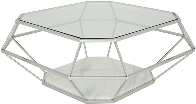 Serene Iris Coffee Table - Glass and Chrome