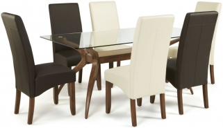Serene Islington Walnut Dining Set - Rectangular with 3 Merton Brown and 3 Cream Faux Leather Chairs