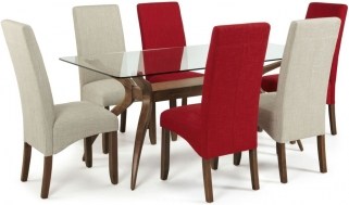 Serene Islington Walnut Dining Set - Rectangular with 3 Merton Linen and 3 Scarlet Chairs