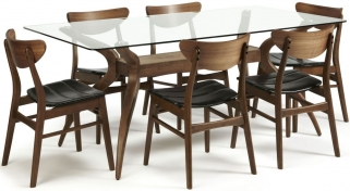 Serene Islington Walnut Dining Set - Rectangular with 6 Camden Walnut Chairs