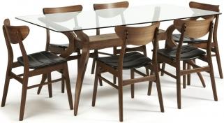 Serene Islington Walnut Dining Set - Rectangular with 6 Camden Walnut Chairs