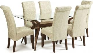 Serene Islington Walnut Dining Set - Rectangular with 6 Kingston Cream Floral Chairs