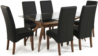 Serene Islington Walnut Dining Set - Rectangular with 6 Merton Black Faux Leather Chairs
