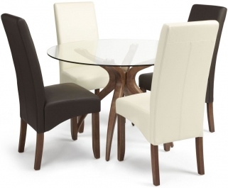 Serene Islington Walnut Dining Set - Round with 2 Merton Brown and 2 Cream Faux Leather Chairs