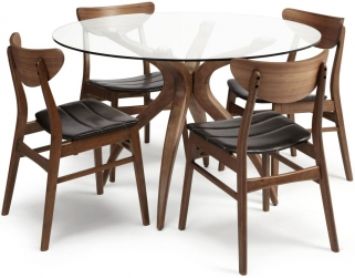 Serene Islington Walnut Dining Set - Round with 4 Camden Walnut Chairs