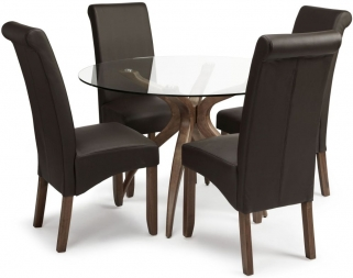Serene Islington Walnut Dining Set - Round with 4 Kingston Brown Faux Leather Chairs
