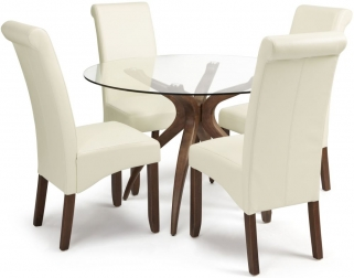Serene Islington Walnut Dining Set - Round with 4 Kingston Cream Faux Leather Chairs