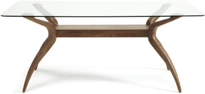 Serene Islington Dining Glass Table - Walnut and Glass