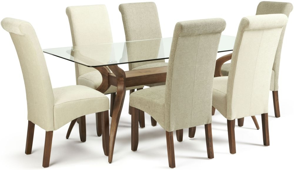 Serene Islington Walnut Dining Set - Rectangular with 3 Kingston Cream Plain and 3 Sage Plain Chairs