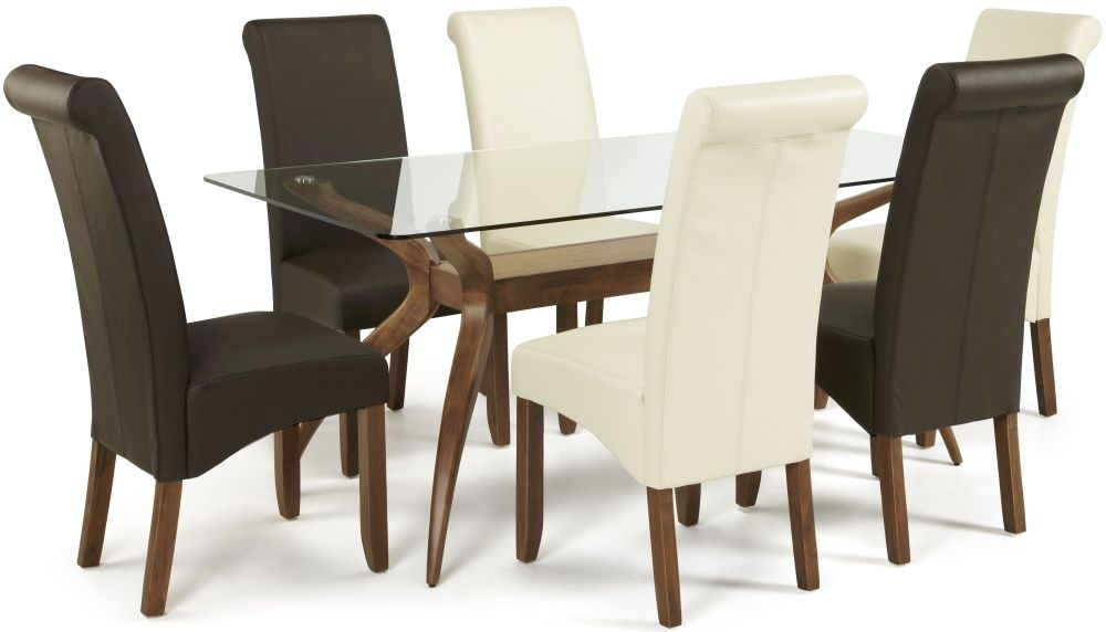 Serene Islington Walnut Dining Set - Rectangular with 3 Kingston Cream and 3 Brown Faux Leather Chairs