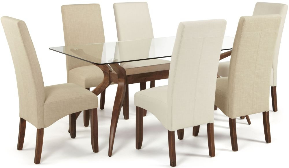 Serene Islington Walnut Dining Set - Rectangular with 3 Merton Stone and 3 Putty Chairs