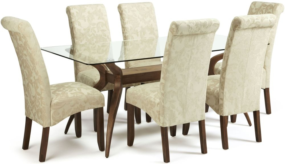 Serene Islington Glass Dining Table and 6 Kingston Floral Chairs - Walnut and Cream Fabric