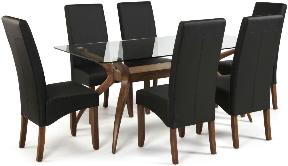 Serene Islington Walnut Dining Set - Rectangular with 6 Merton Black Faux Leather Chairs