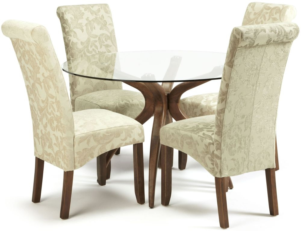 Serene Islington Walnut Dining Set - Round with 2 Kingston Cream Floral and 2 Sage Floral Chairs