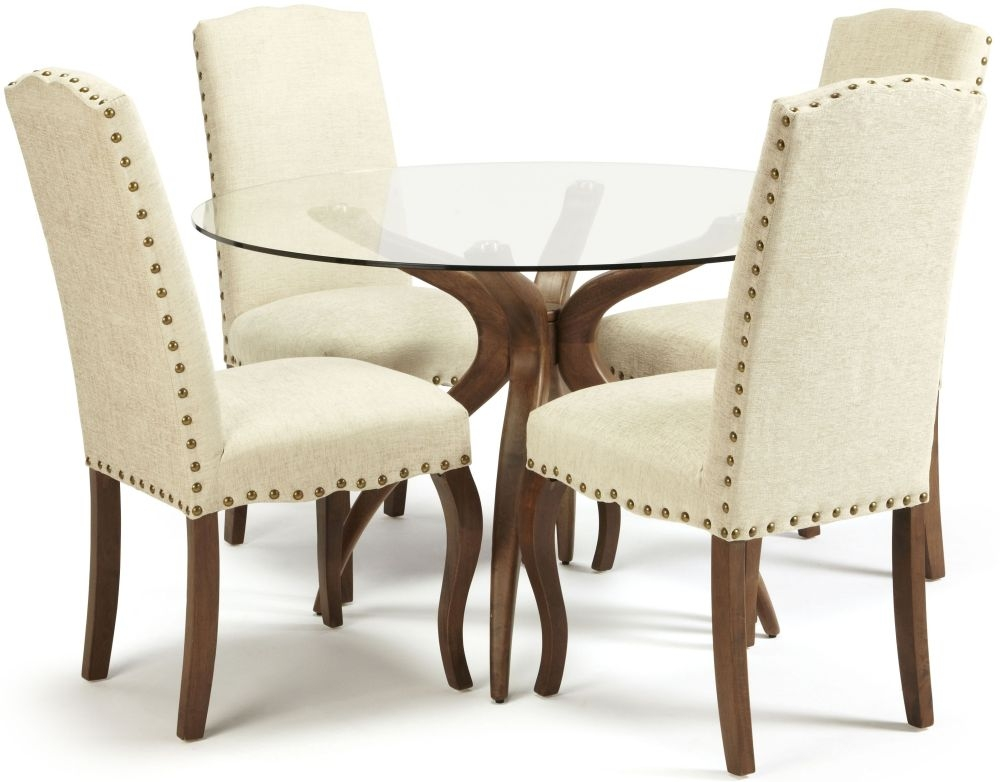 Serene Islington Walnut Dining Set - Round with 4 Kensington Pearl Chairs