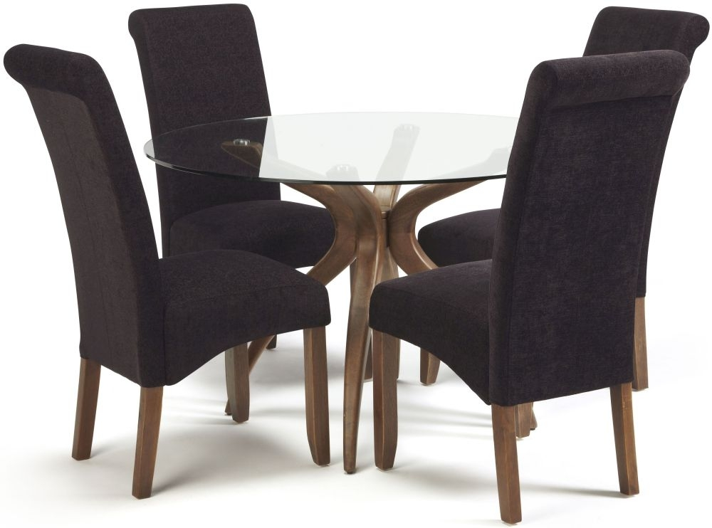 Serene Islington Walnut Dining Set - Round with 4 Kingston Aubergine Plain Chairs