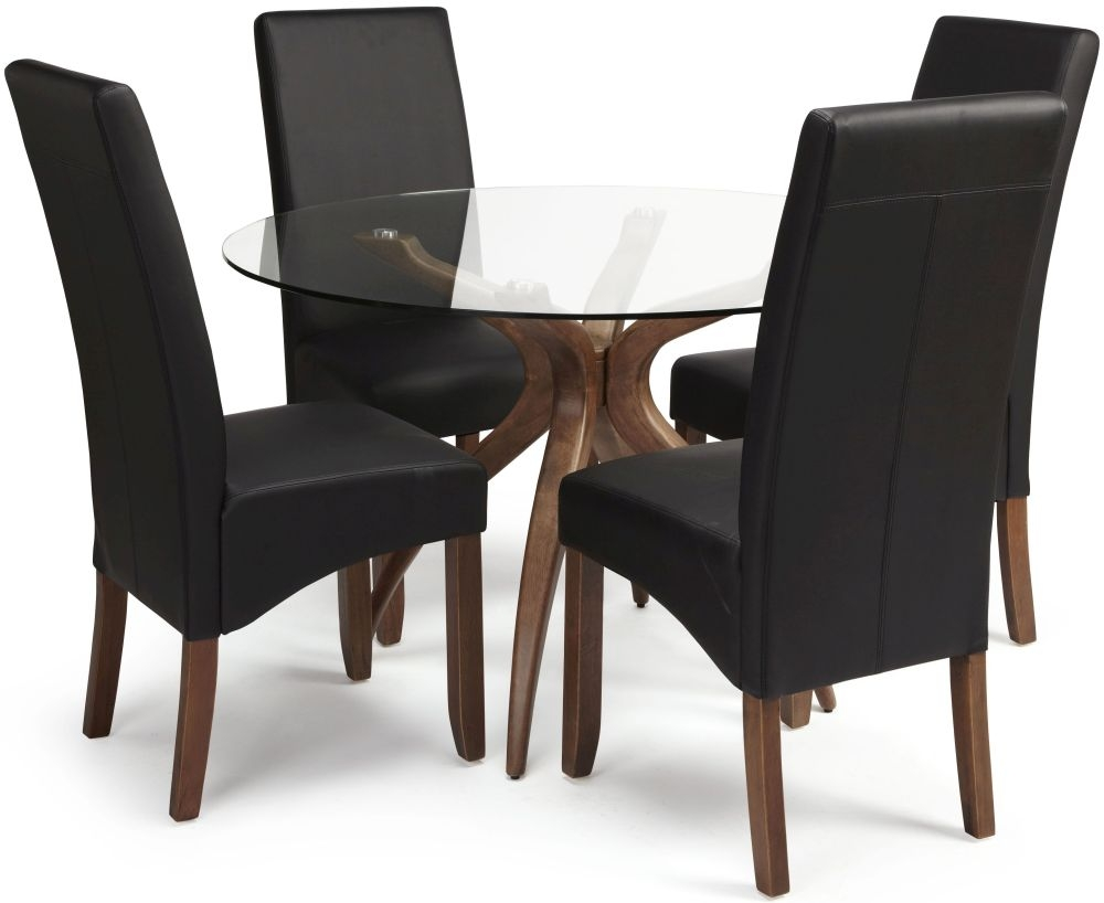 Serene Islington Walnut Dining Set - Round with 4 Merton Black Faux Leather Chairs