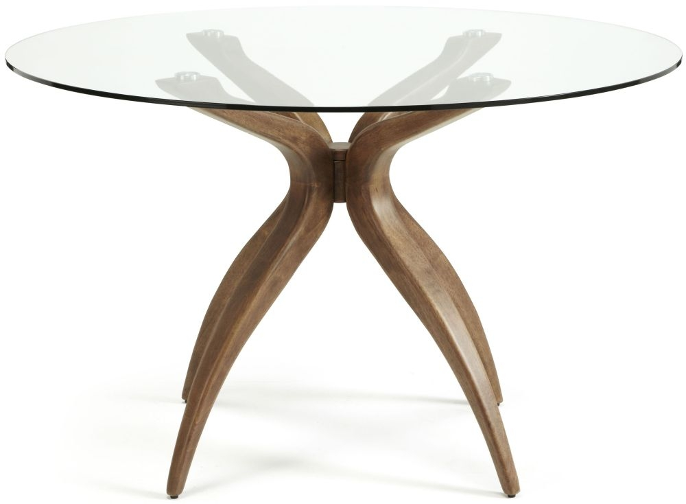 Serene Islington Round Dining Table - Walnut and Glass