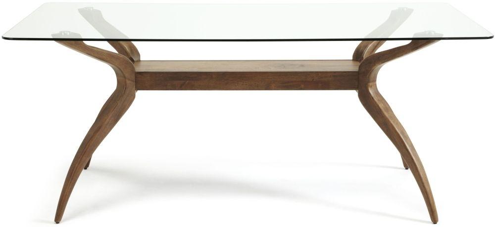 Serene Islington Walnut Rectangular Fixed Top Dining Table - 180cm