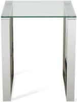 Serene Kayla Stainless Steel and Glass Lamp Table