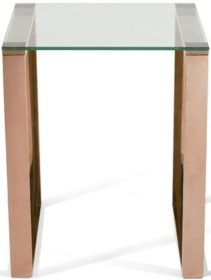Serene Kayla Lamp Table - Glass and Rose Gold