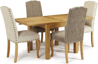 Serene Lambeth Oak Dining Set - Extending with 2 Kensington Pearl and 2 Bark Chairs