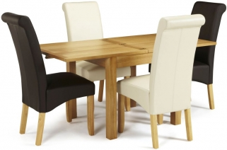 Serene Lambeth Oak Dining Set - Extending with 2 Kingston Brown and 2 Cream Faux Leather Chairs