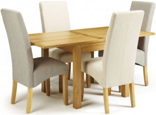 Serene Lambeth Oak Dining Set - Extending with 2 Merton Linen and 2 Putty Chairs