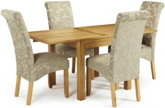 Serene Lambeth Oak Dining Set - Extending with 4 Kingston Sage Floral Chairs