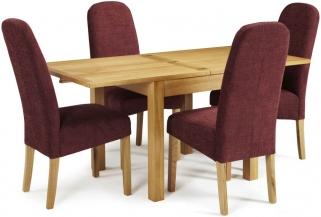 Serene Lambeth Oak Dining Set - Extending with 4 Marlow Shiraz Chairs