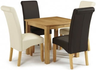Serene Lambeth Oak Dining Set - Fixed Top with 2 Kingston Brown and 2 Cream Faux Leather Chairs