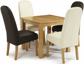 Serene Lambeth Oak Dining Set - Fixed Top with 2 Marlow Brown and 2 Cream Faux Leather Chairs