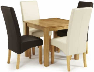 Serene Lambeth Oak Dining Set - Fixed Top with 2 Merton Brown and 2 Cream Faux Leather Chairs