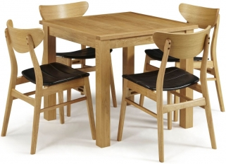 Serene Lambeth Oak Dining Set - Fixed Top with 4 Camden Oak Chairs