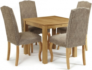 Serene Lambeth Oak Dining Set - Fixed Top with 4 Kensington Bark Chairs