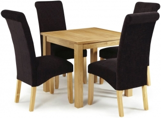 Serene Lambeth Oak Dining Set - Fixed Top with 4 Kingston Aubergine Plain Chairs