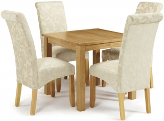 Serene Lambeth Oak Dining Set - Fixed Top with 4 Kingston Cream Floral Chairs
