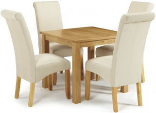 Serene Lambeth Oak Dining Set - Fixed Top with 4 Kingston Cream Plain Chairs