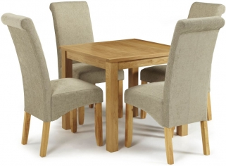 Serene Lambeth Oak Dining Set - Fixed Top with 4 Kingston Sage Plain Chairs