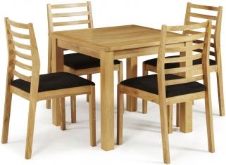 Serene Lambeth Oak Dining Set - Fixed Top with 4 Lewisham Chairs