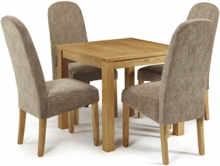 Serene Lambeth Oak Dining Set - Fixed Top with 4 Marlow Bark Chairs