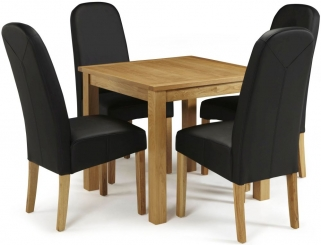 Serene Lambeth Oak Dining Set - Fixed Top with 4 Marlow Black Faux Leather Chairs