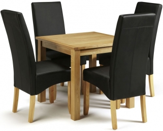 Serene Lambeth Oak Dining Set - Fixed Top with 4 Merton Black Faux Leather Chairs