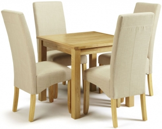 Serene Lambeth Oak Dining Set - Fixed Top with 4 Merton Stone Chairs