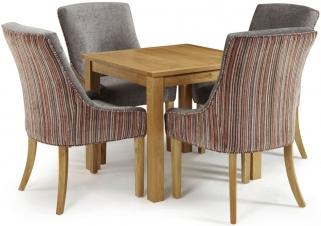 Serene Lambeth Oak Dining Set - Fixed Top with 4 Richmond Orange Steel Chairs