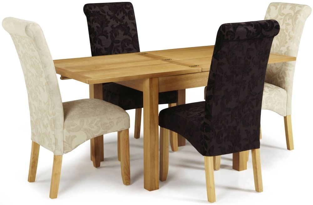 Serene Lambeth Oak Dining Set - Extending with 2 Kingston Aubergine Floral and 2 Cream Floral Chairs