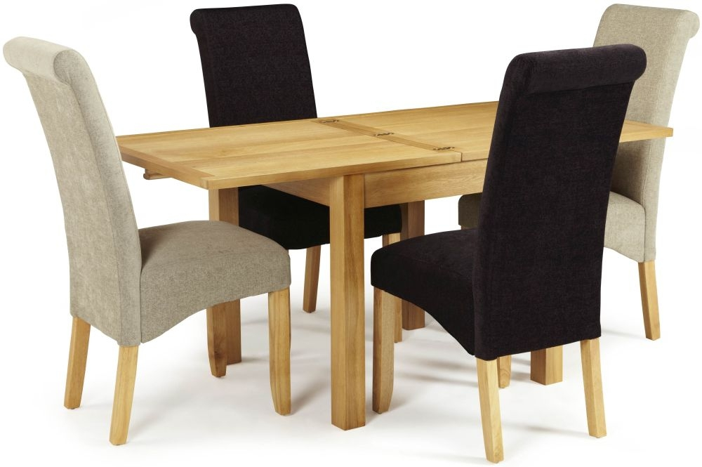 Serene Lambeth Oak Square Extending Flip Top Dining Table and 4 Multi Color Fabric Kingston Chairs