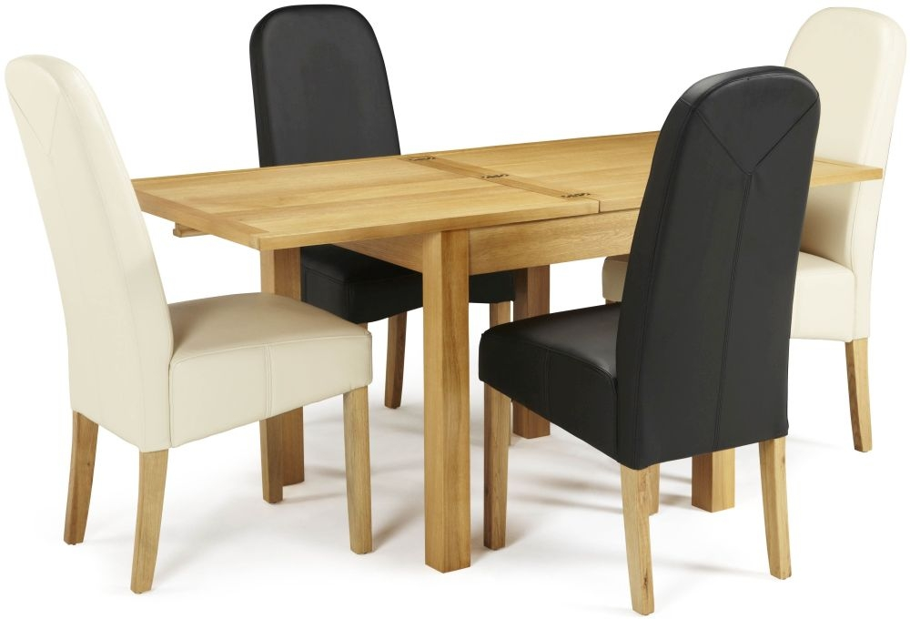 Serene Lambeth Oak Dining Set - Extending with 2 Marlow Brown and 2 Cream Faux Leather Chairs