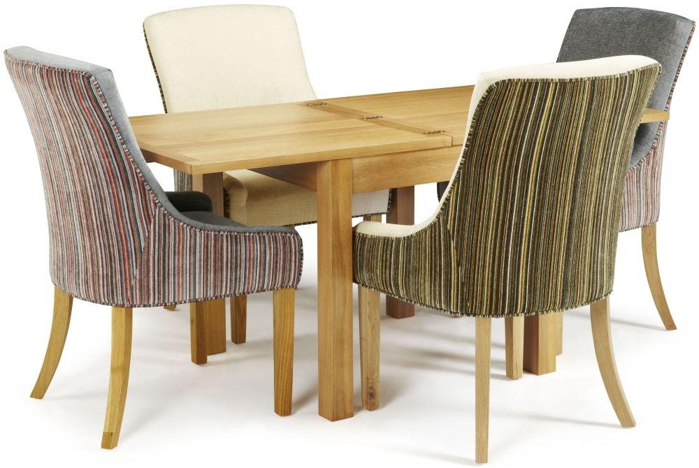 Serene Lambeth Oak Dining Set - Extending with 2 Richmond Aubergine Pearl and 2 Orange Steel Chairs